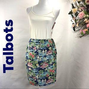 Talbots silk lined wrap skirt ,cheerful sea print